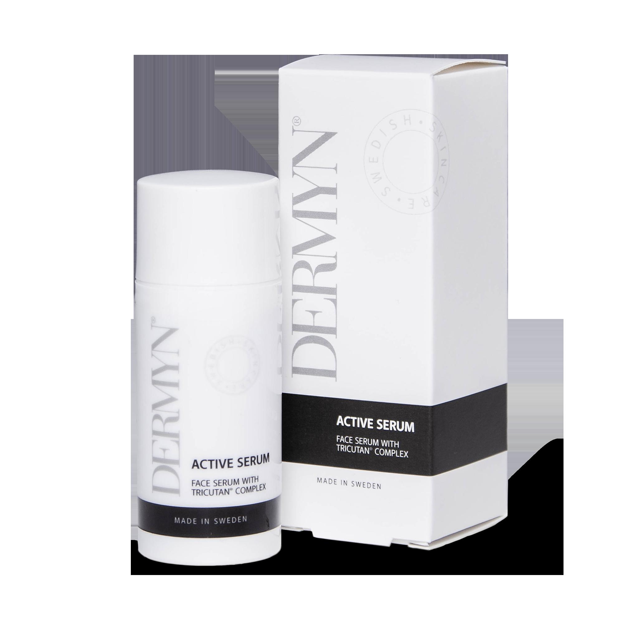 DERMYN Active Serum har en naturligt uppstramande effekt.